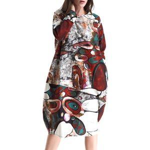 Dresses & Skirts - BOHEMIAN PRINT BAGGY OVERSIZED MIDI DRESS